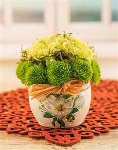flowers: Green Sprays and Carnations in Pottery!
