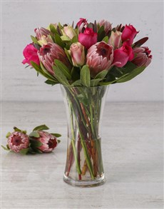 flowers: Mixed Rose & Proteas in a Vase!