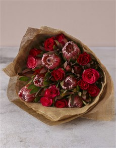 flowers: Red Rose & Protea Medley Bouquet!