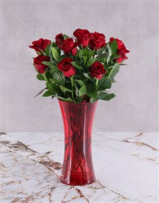 flowers: Red Roses in Red Flair Vase!