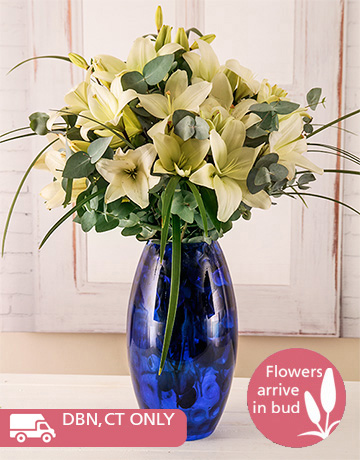flowers: Lilies in a Blue Vase!