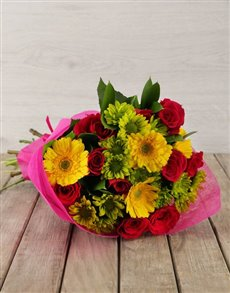 gifts: Mixed Pink & Yellow Flower Bouquet!