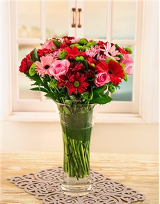 flowers: Pink and Red Gerberas, Roses and Sprays in Vase!