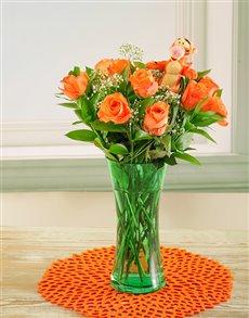 flowers: Tigger & Orange Roses in a Vase!