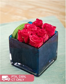 Flowers: Cerise Roses in a Blue Square Vase!