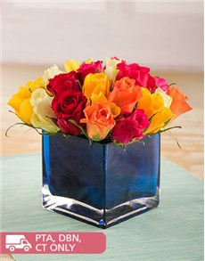 flowers: Delightful Mixed Roses in a Blue Square Vase!