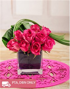 flowers: Pink Roses in Purple Vase!