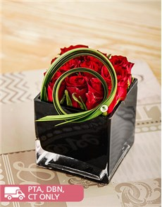 flowers: Red Roses in a Black Square Vase!