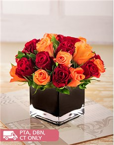 flowers: Red and Orange Roses in a Black Square Vase!