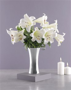 flowers: St Joseph Lilies in Silver Vase!