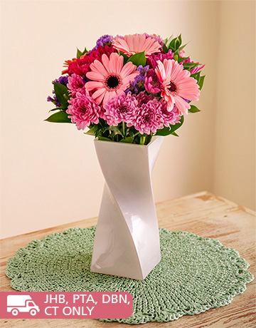 flowers: Gerberas and Sprays in a White Twisty Vase!
