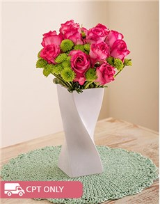 flowers: Pink Roses and Sprays in a White Twisty Vase!