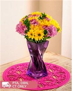 flowers: Mixed Sprays in a Purple Twisty Vase!