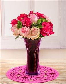 flowers: Shades of Pink Roses in a Purple Vase!