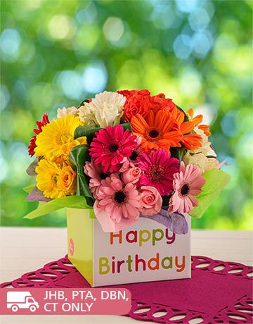 flowers: Mixed Gerbera & Rose Birthday Box!