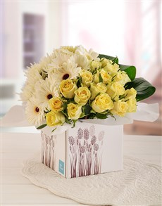flowers: Cream Roses and White Gerberas in Box!