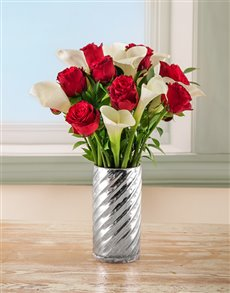 flowers: Grandeur Love Arum Lilies and Rose Arrangement!