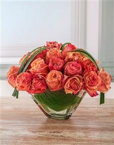 flowers: Blazing Orange Rose Arrangement in a Crystal Vase!