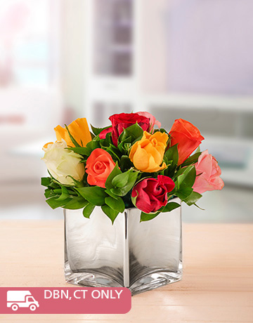 flowers: Mixed Roses in Silver Square Vase!