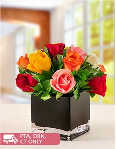 flowers: Mixed Roses in Black Square Vase!