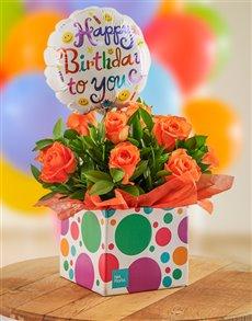 flowers: Orange Roses in Bubble Box!