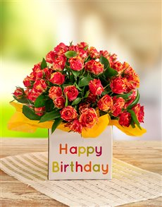 flowers: Orange Kenyan Cluster Roses in a Birthday Box!