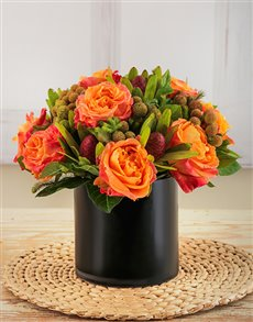 flowers: Amor Vittone Orange Sunset Arrangement!