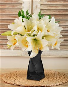 flowers: St Joseph Lilies in a Black Curved Vase!