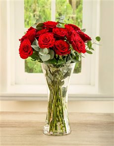 flowers: She Said Ruby Red Rose Arrangement!