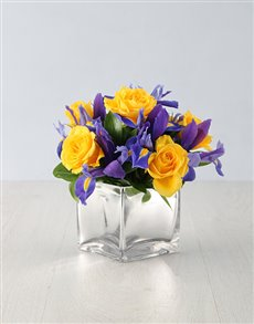 flowers: Blooming Irises and Rose Arrangement!