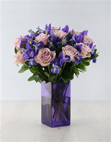 Flowers: Iris Masterpiece in Purple Vase!