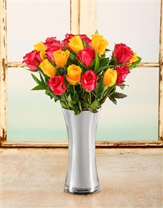 flowers: Silver Rainbow Rose Arrangement!