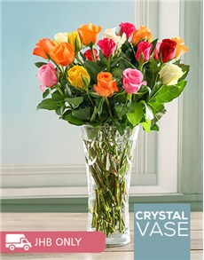 flowers: Mixed Rose Crystal Vase!