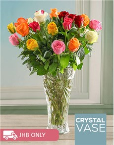 flowers: Mixed Oasis Rose in a Crystal Vase!
