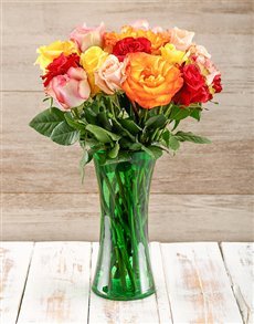 flowers: Mixed Giant Ethiopian Roses in Green Vase!