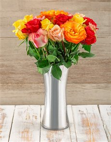 flowers: Radiant Mixed Giant Ethiopian Roses Arrangement!