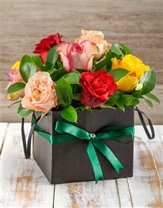 flowers: Vibrant Giant Ethiopian Roses in Black Gift Box!
