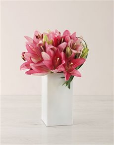 flowers: Pink Asiflorum Lily and Leriopi Vase!