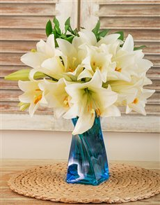 flowers: St Joseph Lilies in a Blue Curved Vase!