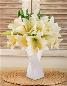 flowers: St Joseph Lilies In a White Twisty Vase!