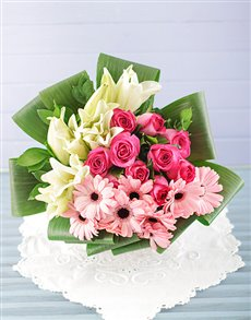 flowers: Lily Gerbera and Rose Bouquet!