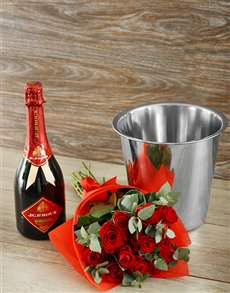 flowers: Red Rapture Bubbly & Roses Gift!