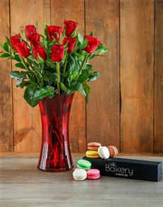flowers: Gourmet Red Roses in a Red Vase Bouquet!