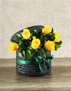flowers: Yellow Rose Hat Box!