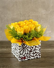 flowers: Yellow Roses in Designer Box!