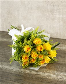 gifts: Sunshine Yellow Rose Bouquet!