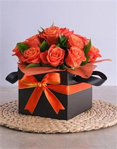 flowers: Orange Roses in Black Square Box!