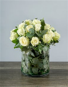 flowers: White Roses in a Round Vase!
