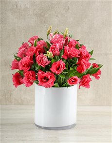 flowers: Pink Lizzies in White Vase!