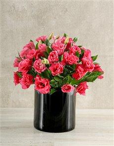 flowers: Pink and Black Lisianthus Vase!